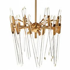 The glass rods are held in place in a pivoting joint so that you can display them horizontally, vertically or both. This affects the overall size measurement which is determined at the point of install. Max Dimensions: wide by high Brass Chandelier, Modern Chandelier, Chandelier Lighting, Chandeliers, Shop Lighting, Candelabra, Light Fixtures, Bulb, Lights