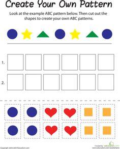 First Grade Math Worksheets: Shape Patterns Patterning Kindergarten, Shapes Worksheet Kindergarten, Shapes Worksheets, Kids Math Worksheets, Kindergarten Math, Math Resources, Math Activities, Math Strategies, Teaching First Grade