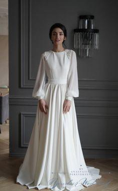 Muslimah Wedding Dress, Hijab Wedding Dresses, Wedding Gowns, Wedding Abaya, Wedding Cakes, Minimalist Wedding Dresses, Classic Wedding Dress, Chiffon Dress Long, Crepe Dress