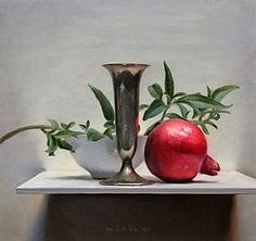 Still life with pomegranate, 35x22cm, 2012. jos van riswick, holland.  I love the way the tall shape is centered but the asymmetry balances it.