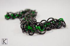 Bracelet Black & Green Abhainn Style by CreationsByKsquared  https://www.etsy.com/listing/497447104/bracelet-black-green-abhainn-style