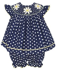 Anavini Baby Girls Navy Blue / White Dots Smocked Daisy Bloomers Set