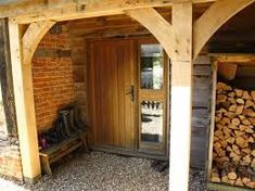 Five Oak Projects Cabin Porches, Log Store, Beautiful Kitchens, Front Porch, Pergola, Barn, Outdoor Structures, Rooms, Living Room