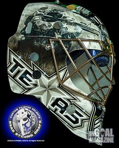 Dallas Stars prospect Jack Campbell's new helmet art from Jason Livery of HeadStrong Grafx, features powerful imagery in a striking design reflective of his roots with USA hockey and the career he might have chosen without such early goaltending success. Hockey Helmet, New Helmet, Hockey Goalie, Hockey Teams, Usa Hockey, Goalie Mask, Masks Art, New Star, National Hockey League