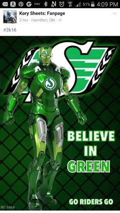 Saskatchewan Roughrider Iron Man! Go Rider, Saskatchewan Roughriders, Philadelphia Eagles Super Bowl, Crown Of Thorns, Iron Man, Nfl, Football, Green, Pride