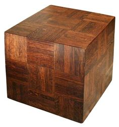Vintage 1960s Walnut Panelled Cube End Table in the Style of Milo Baughman - V&M