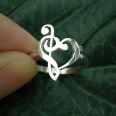 Music Love Heart Ring - Treble Clef Bass clef Ring - Holidays, Valentines Day, Spring, 2015 New Year Gift, October, November, December Trend by yhtanaff on Etsy