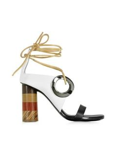 Black and White Leather Open Toe Sandal w/Chunky Wooden Heel - http://www.fiftyshadestores.com/shop/shoes/black-and-white-leather-open-toe-sandal-wchunky-wooden-heel/