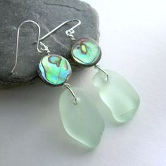Green Sea Glass Earrings Natural Abalone Shell by cindylouwho2