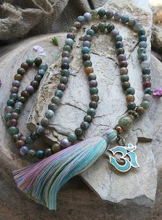 Mala necklace made ​​of 108, 8 mm - 0.315 inch, very beautiful jasper gemstones and decorated with a handmade Nepalese OM pendant