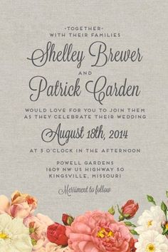 "wedding invitation from Love vs. Design.  Like the wording and how it mixes bigger font with small for key details.  Also the ""merriment to follow"" is great!"