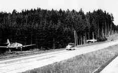 Two parked Messerschmitt Me 262 fighter jets next to the autobahn between Munich-Salzburg, 1945. #WW2