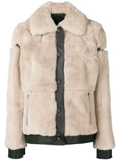 Aesthetinc Shawl Collar Faux Fur Leather Vest with Insideout Fur Pocket Accent