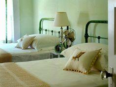 go green with vintage hospital beds.  texture. pom pom details.  old fan.
