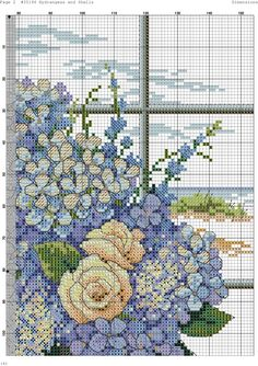 Hydrangeas and shells 3 / 6 Counted Cross Stitch Patterns, Cross Stitch Designs, Cross Stitch Embroidery, Cross Stitch Pictures, Flower Pillow, Flowers For You, Crochet Cross, Cross Stitch Flowers, Needlepoint