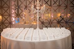 Wedding Reception Black and White Guest Seating Cards with Candelabra