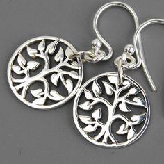 Sterling Silver Tree of Life Earrings - Mom Jewelry - Silver Drop Earrings - Leaf Tree Woodland Nature Earrings