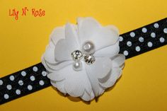 White Pearl Chiffon Flower by LilyNRoseHeadbands, White Headband, Chiffon Flowers, Baby Headbands, Pearl White, Lily, Pearls, Rose, Stuff To Buy, Accessories