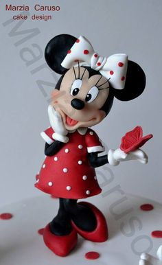 Centro de torta de Minnie Mouse en arcilla polimérica / polymer clay