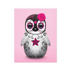 Pink Day of the Dead Sugar Skull Penguin Canvas Print by Jeff Bartels