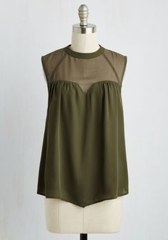 Allow Me to Produce To You Top - Green, Solid, Party, A-line, Sleeveless, Sheer, Woven, Good, Crew, Mid-length