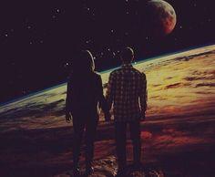 парень, девушка, космос