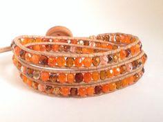 "Bohemian wrap bracelet ""Pumpkin Spice"" orange, Amber czech glass beads and leather cord"