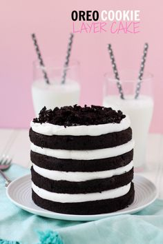 This tall, gorgeous Oreo Cookie Layer Cake tastes like biting into a giant soft Oreo!
