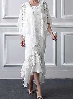 A-Line Mother of the Bride Dress Elegant Jewel Neck Knee Length Chiffon Lace Long Sleeve with Lace 2020 2021 - £ 129.37 Mother Of The Bride Fashion, Mother Of The Bride Suits, Maid Dress, Groom Dress, Older Bride Dresses, Ladies Dresses, Chiffon, Wedding Dresses For Sale, Business Dresses