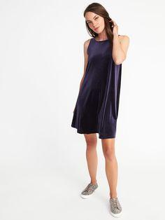 Velvet-Knit Swing Dress for Women    Old Navy