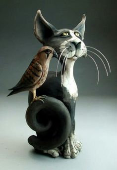 "Mitchell Grafton - Grafton Pottery - ""Portrait Of A Cat"" -  Face Jugs - George"