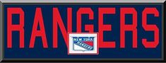 New York Rangers Team Name Are Mat Cut Out Letters With Team Color Double Matting & Team Logo Under-Awesome & Beautiful Large Picture-All Teams Available-Please Go Through Description & Mention In Gift Message If Need A different Team