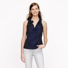 Polka-dot ruffle top - shirts & tops - Women's new arrivals - J.Crew