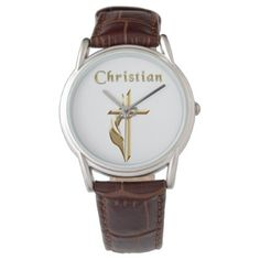 Shop Mens Christian watches created by Christian_Clothing. Personalize it with photos & text or purchase as is! Versace Bright Crystal, Watch Diy, Christian Clothing, Classic Leather, Classic Looks, Black And Brown, Quartz, Watches, Crystals