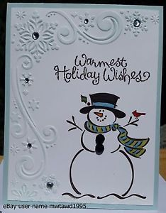 CHRISTMAS-CARD-KIT-STAMPIN-UP-FROSTY-SNOWMAN-SNOWFLAKES-HANDMADE