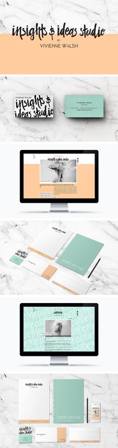 Insights & Ideas Studio branding, business cards, website and stationary by Smack Bang Designs_ fotos in marble Brand Identity Design, Corporate Design, Graphic Design Typography, Branding Design, Corporate Branding, Logo Branding, Design Web, Fashion Logo Design, Menu Design