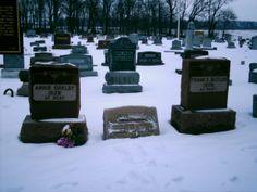 "Brock, OH (Darke County) - Annie Oakley & Frank Butler's graves in ""New"" Brock Cemetery."