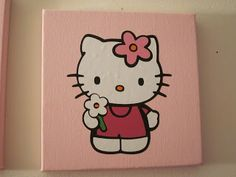 Diy canvas art 64598575877760001 - Crafting Misfit: Hello Kitty canvas Source by rmbhenry Small Canvas Paintings, Easy Canvas Art, Small Canvas Art, Mini Canvas Art, Cute Paintings, Diy Canvas, Hippie Painting, Diy Painting, Disney Canvas Art