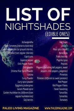 List of Nightshades Infographic - get the full list of nightshades and downloadable PDF here: http://paleomagazine.com/list-of-nightshades-foods