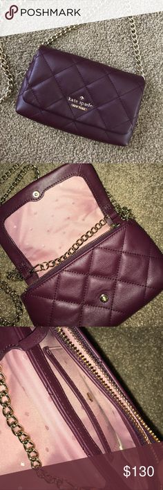 NWOT Kate Spade purse NWOT! Perfect condition. Beautiful purple/maroon color. Has several pockets inside and a zipper pouch. Buttons in front for easy access! kate spade Bags Mini Bags