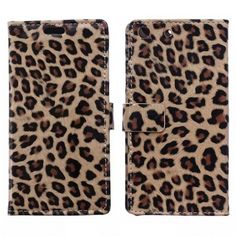 Leopard Leather Wallet Case with Card Slot for Sony Xperia M5