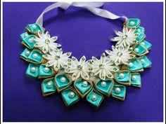DIY kanzashi necklace 02 / Ожерелье канзаси 02 - YouTube