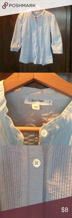 Cotton shirt Calvin Klein 97% cotton, 3% spandex, light blue Tops Button Down Shirts