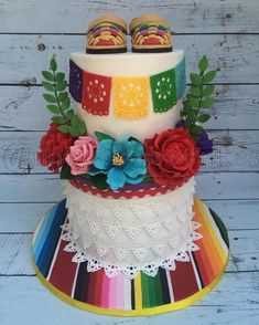 Fiesta themed baby shower cake complete with handmade sugar flowers and baby sized huarache sandals. Mexican Birthday Parties, Mexican Fiesta Party, Fiesta Theme Party, Festa Party, Fiesta Gender Reveal Party, Mexican Theme Baby Shower, Baby Shower Themes, Mexican Baby Showers, Shower Ideas