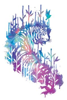 Watercolor tiger prowling through bamboo jungle with birds.   https://www.threadless.com/designs/watercolor-tiger-3