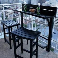 The Balcony Bar - 3 Piece Furniture (White), Patio Furniture (Aluminum) Small Balcony Decor, Outdoor Balcony, Small Balcony Furniture, Small Balcony Design, Small Apartment Furniture, Modern Balcony, Balcony Gardening, Balcony Ideas, Small Patio Ideas Townhouse