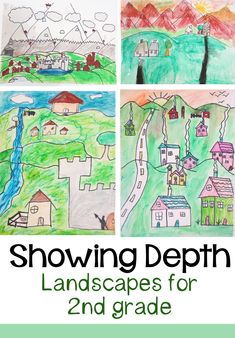 Showing Depth in Landscapes:  2nd Grade Drawing Project