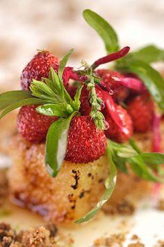 Tarte aux fraises, estragon en sorbet