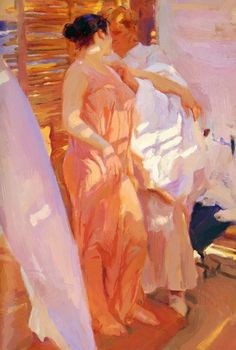 The Pink Robe By Joaquin Sorolla - Famous Art- Handmade Oil Painting On Canvas — Canvas Paintings - the-pink-robe-by-joaquin-sorolla-famous-art-handmade-oil-painting-on-canvas - Spanish Painters, Spanish Artists, Figure Painting, Oil Painting On Canvas, Canvas Canvas, Canvas Paintings, Watercolor Paintings, Tableaux Vivants, Famous Art