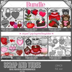Valentine Mix Templates Bundle (CU4CU) PSD Layered Templates by Scrap and Tubes Commercial Use for Digital Scrapbooking, #CUDigitals